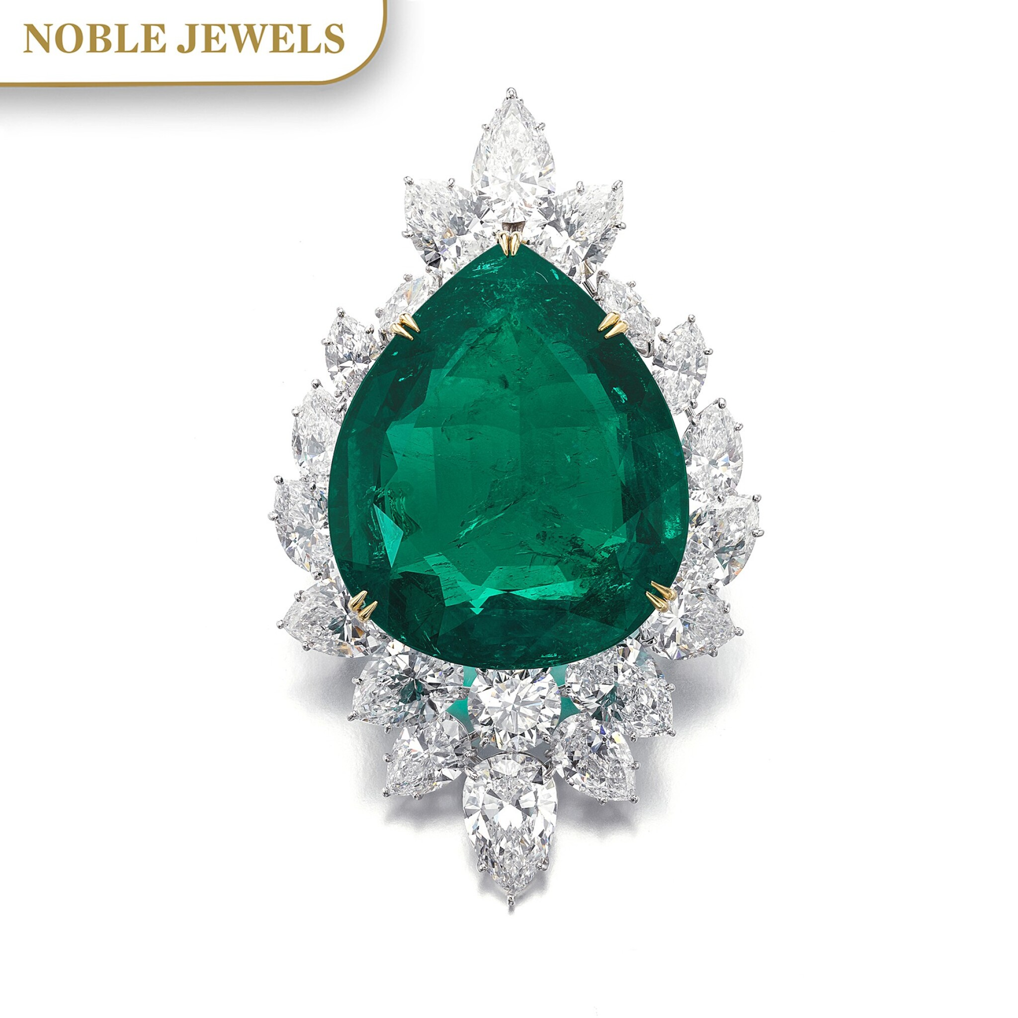 View full screen - View 1 of Lot 177.  Harry Winston   Very Important Emerald and diamond brooch/pendant combination, circa 1970   海瑞溫斯頓   祖母綠配鑽石別針/吊墜組合,約1970年.