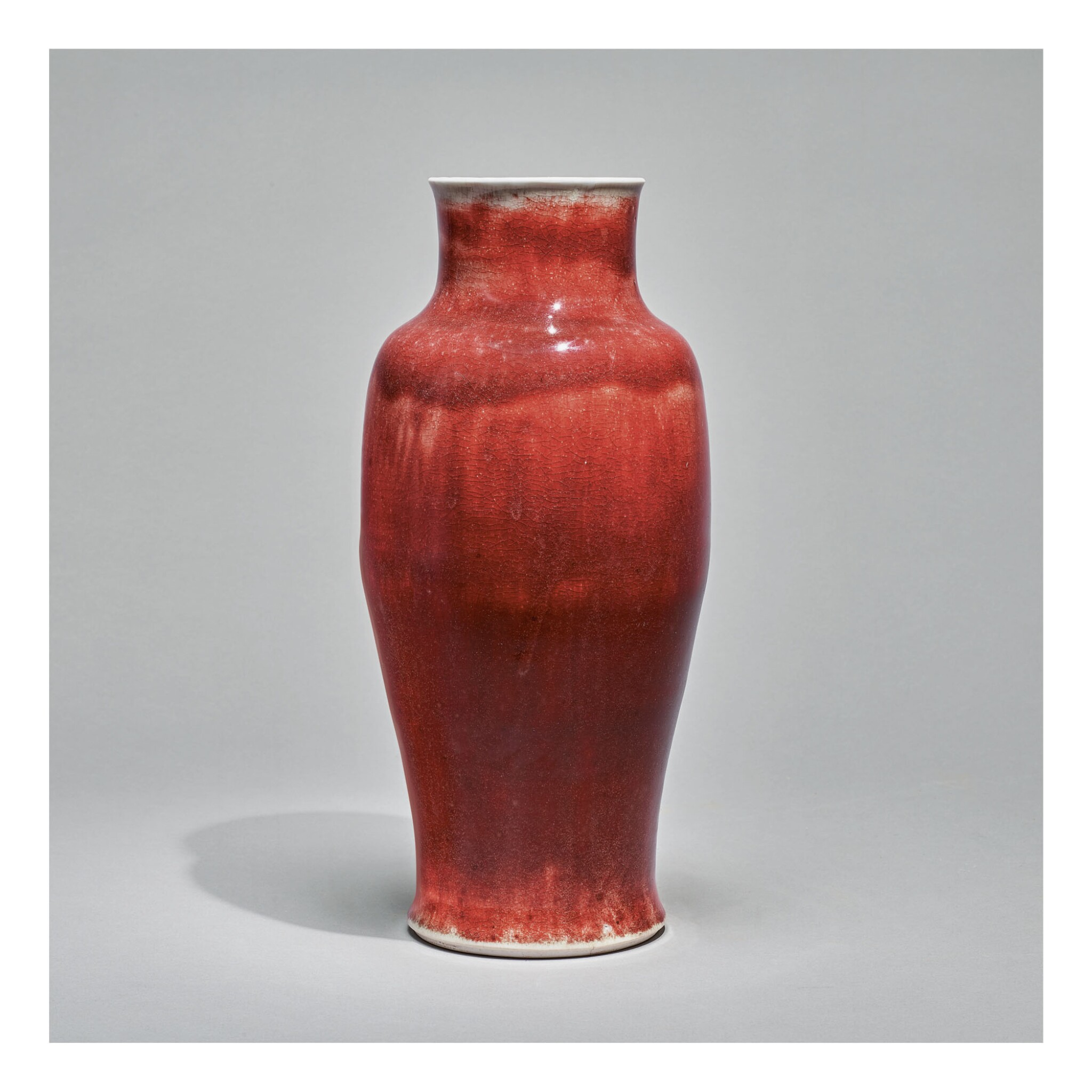 View full screen - View 1 of Lot 120. A COPPER-RED-GLAZED 'LANGYAO' VASE,  QING DYNASTY, KANGXI PERIOD.
