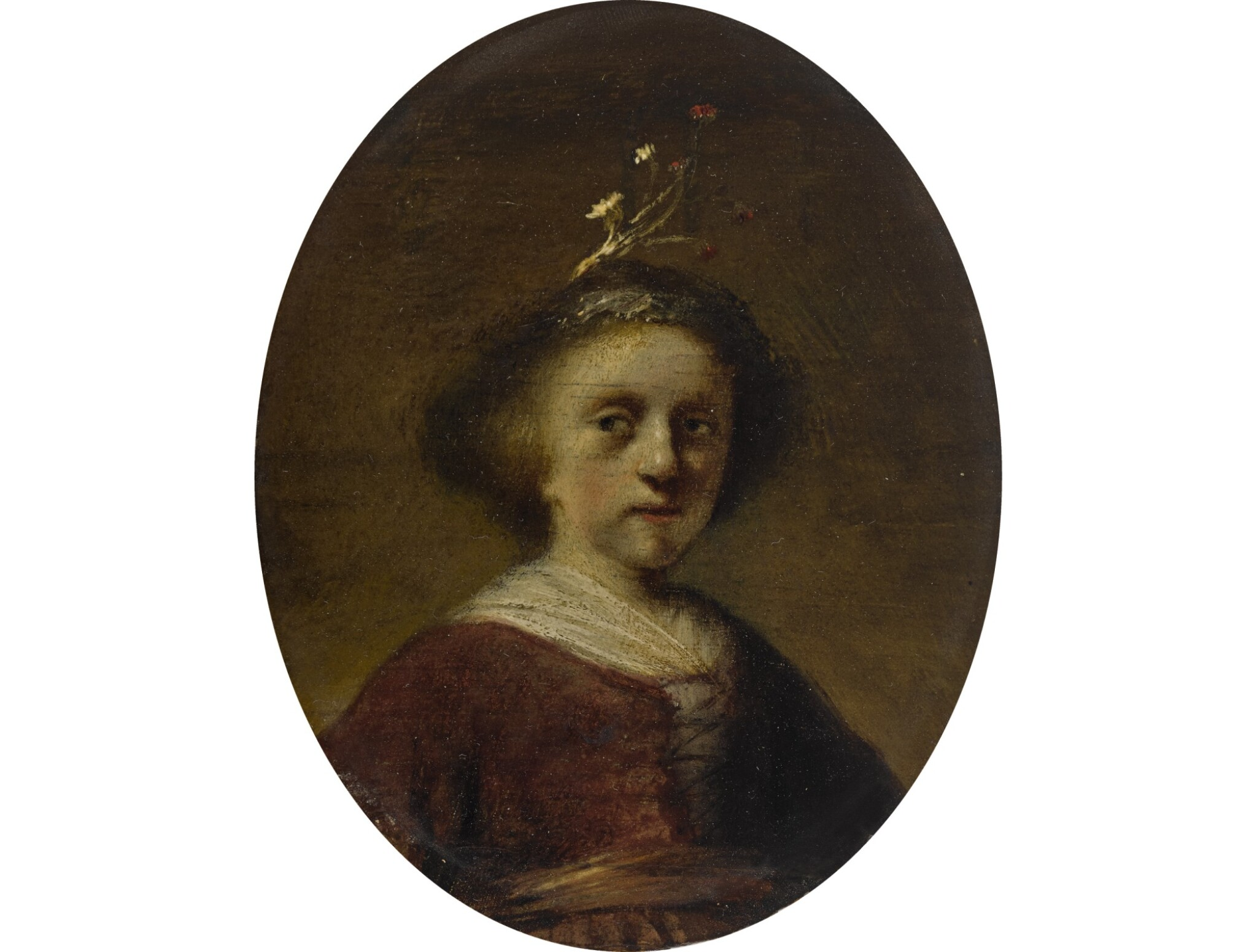 View full screen - View 1 of Lot 185.  FOLLOWER OF REMBRANDT HARMENSZ. VAN RIJN   PORTRAIT OF A YOUNG GIRL WITH FLOWERS IN HER HAIR.