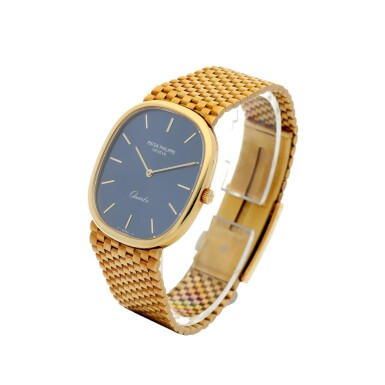 View 2. Thumbnail of Lot 58.  PATEK PHILIPPE   REFERENCE 3838/1 GRAND ELLIPSE  A YELLOW GOLD OVAL BRACELET WATCH, MADE IN 1981.