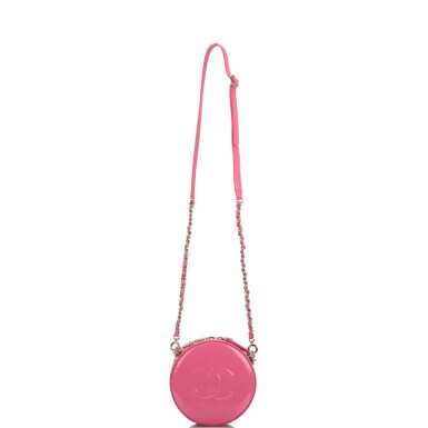 """Chanel Pink """"Round As Earth"""" Bag of Patent Leather with Silver Tone Hardware"""