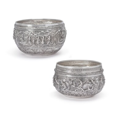 TWO BURMESE SILVER BOWLS, LATE 19TH CENTURY
