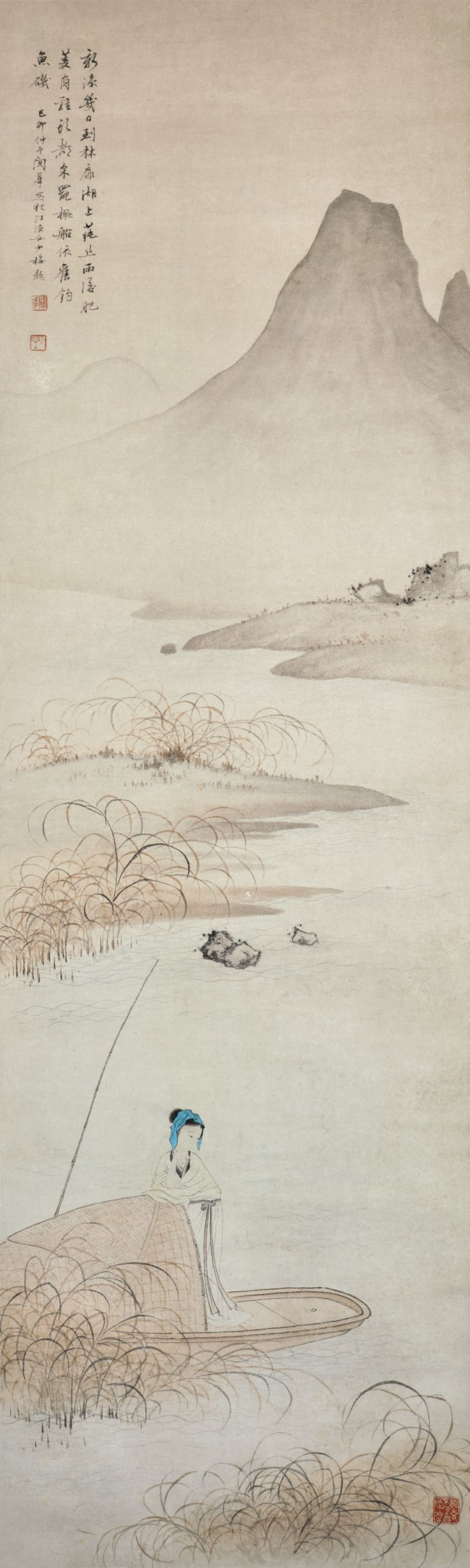 View full screen - View 1 of Lot 46. GUAN HUA, LADY BY THE BOAT   關華 《漁女》  設色紙本 立軸.