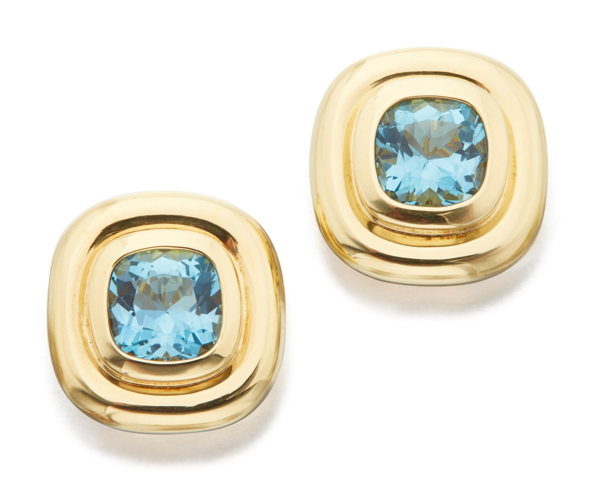 View full screen - View 1 of Lot 23. PAIR OF GOLD AND AQUAMARINE EARCLIPS, PALOMA PICASSO FOR TIFFANY & CO..