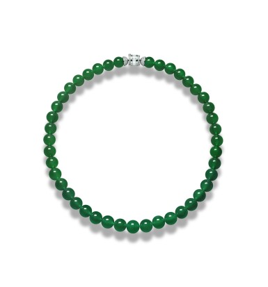 """View 2. Thumbnail of Lot 1662. AN EXTREMELY RARE AND EXCEPTIONAL """"IMPERIAL GREEN"""" JADEITE BEAD AND DIAMOND NECKLACE 