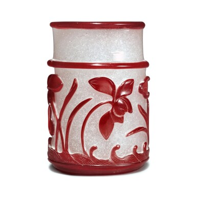 View 2. Thumbnail of Lot 56. A red overlay snowflake glass 'lotus pond' brushpot, Qing dynasty, 19th century.