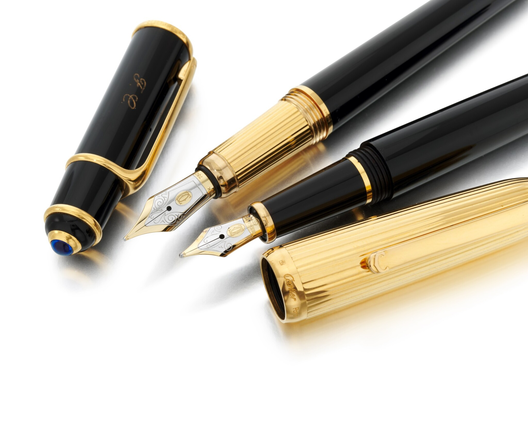 View 1 of Lot 110. Two fountain pens (Due penne stilografiche).
