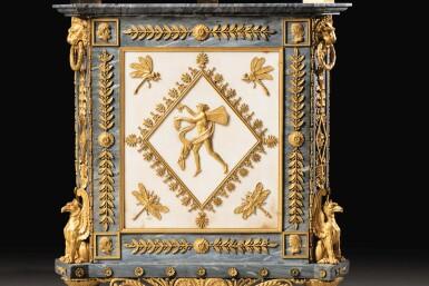 View 9. Thumbnail of Lot 20. A PAIR OF WHITE AND BLEU TURQUIN MARBLE JARDINIÈRES, WITH MERCURY GILT-BRONZE MOUNTS, LATE LOUIS XVI, CIRCA 1790-1800, THE MOUNTS BY FORESTIER PROBABLY AFTER A DESIGN BY JEAN-DÉMOSTHÈNE DUGOURC, PURCHASED IN PARIS AND DELIVERED TO THE KING OF SPAIN, CHARLES IV IN 1802   PAIRE DE CAISSES JARDINIÈRES EN MARBRES BLANC ET BLEU TURQUIN À MONTURE DE BRONZE DORÉ AU MERCURE DE LA FIN DE L'ÉPOQUE LOUIS XVI, VERS 1790-1800, LES BRONZES PAR FORESTIER PROBABLEMENT D'APRÈS UN DESSIN DE JEAN-DÉMOSTHÈNE DUGOURC, ACHETÉE À PARIS ET LIVRÉE POUR LE ROI D'ESPAGNE CHARLES IV EN 1802.
