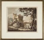 PAUL SANDBY, R.A. | A fortified bridge in a river landscape
