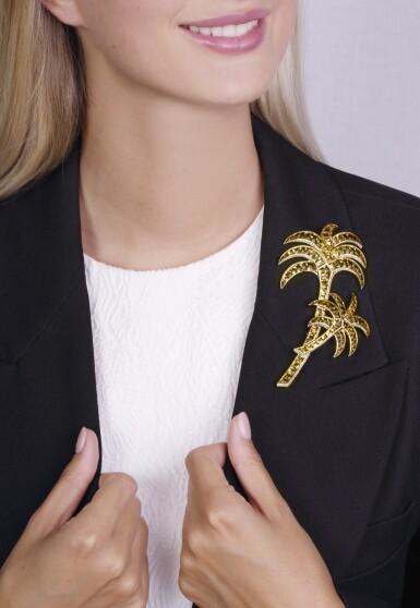 Citrine and diamond brooch, 'Palme', Michele della Valle