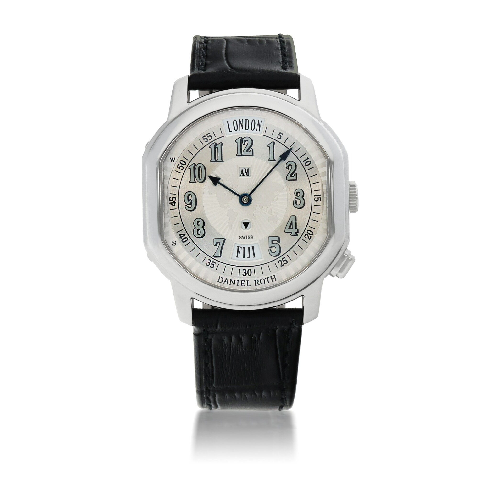 View full screen - View 1 of Lot 668. DANIEL ROTH    METROPOLITAN 24 CITIES, REF 875.X.10   STAINLESS STEEL WORLD-TIME WRISTWATCH WITH AM/PM INDICATION   CIRCA 2005.