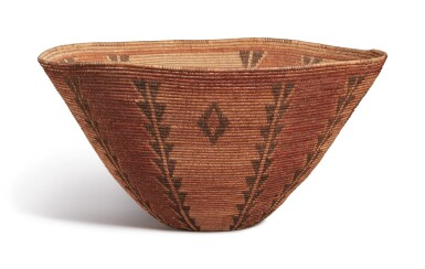 View 1. Thumbnail of Lot 207. Panamint Coiled Polychrome Geometric Basket Bowl, South Eastern California, Owens Valley/Death Valley Area, circa 1900.