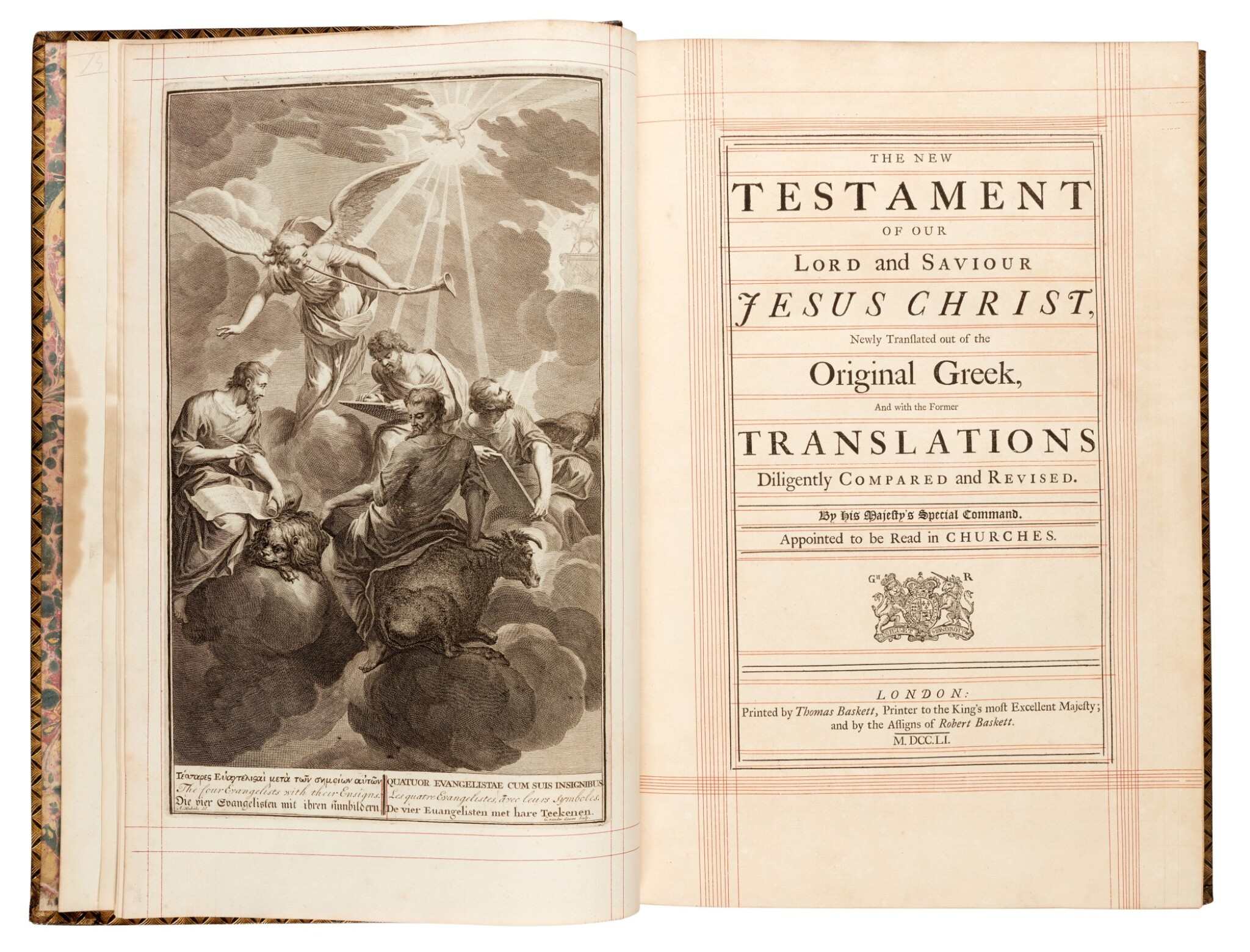 View full screen - View 1 of Lot 69. Bible, London, 1751, 4 volumes, navy morocco gilt, Newcastle copy.