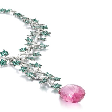 View 2. Thumbnail of Lot 1082. Emerald, tourmaline and diamond pendent necklace.