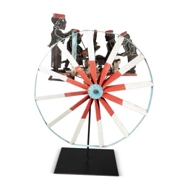 VERY RARE PAINTED WOOD AND METAL MECHANICAL WHIRLIGIG OF AFRICAN-AMERICAN MEN AT WORK, FOUND IN SOUTHERN GEORGIA, CIRCA 1935