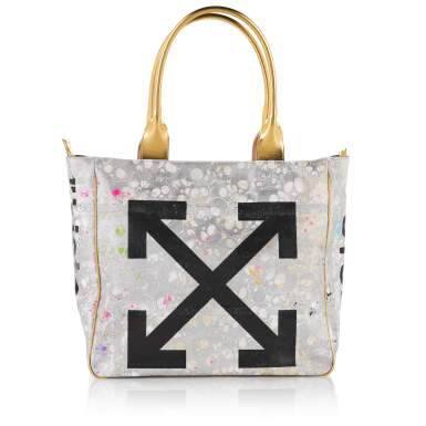 View 2. Thumbnail of Lot 3. Gold and Black Tote Bag in Canvas and Leather, 2018, signed by Murakami and Abloh.