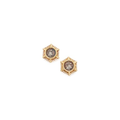 PAIR OF GOLD, ANCIENT COIN AND DIAMOND EARCLIPS, BULGARI