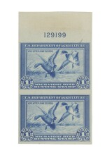 Hunting Permit 1934 $1.00 Vertical Pair Imperforate Horizontally with Plate Number on stamp paper