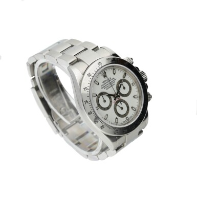 View 2. Thumbnail of Lot 451. ROLEX   REFERENCE 116520 DAYTONA   A STAINLESS STEEL AUTOMATIC CHRONOGRAPH WRISTWATCH WITH REGISTERS AND BRACELET, CIRCA 2000.