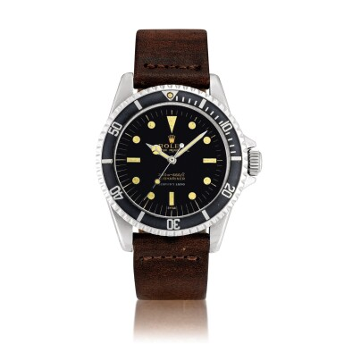 View 1. Thumbnail of Lot 2285. Rolex | Submariner, Reference 5513, A stainless steel wristwatch with pointed crown guards and underline gilt dial, Retailed by Serpico Y Laino, Circa 1963 | 勞力士 | Submariner 型號5513 精鋼鏈帶腕錶,備尖形錶冠護橋及漆製錶盤,由 Serpico Y Laino 發行,約1962年製.