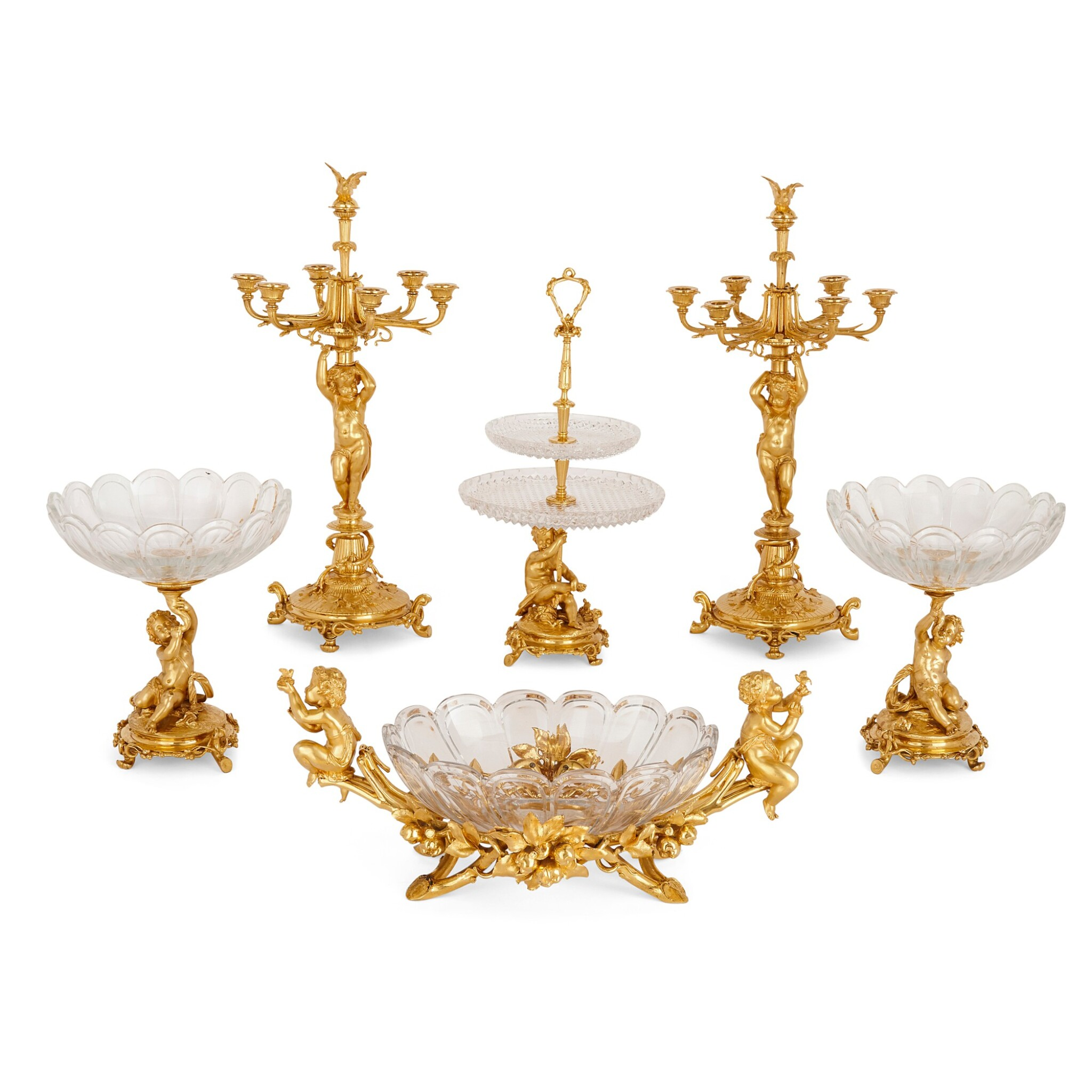 View full screen - View 1 of Lot 75. A FRENCH GILT-BRONZE AND CUT-GLASS SIX-PIECE GARNITURE, BY CHRISTOFLE & CIE CIRCA 1880.
