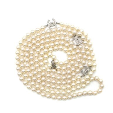 View 9. Thumbnail of Lot 165. CHANEL | IVORY FAUX PEARL DOUBLE STRAND NECKLACE WITH FAUX PEARL EMBELLISHED CC PENDANTS AND LOBSTER CLASP CLOSURE, 2012.