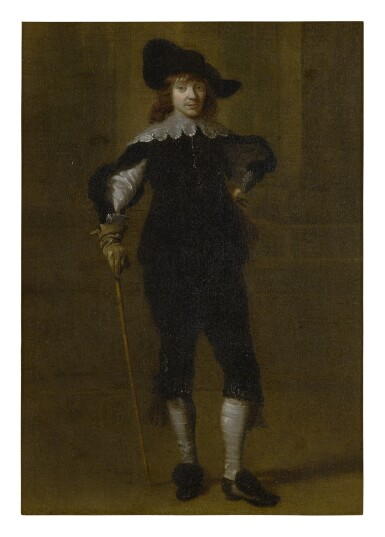 View 1. Thumbnail of Lot 534. ATTRIBUTED TO GODAERT KAMPER | PORTRAIT OF A GENTLEMAN, FULL LENGTH, IN A HAT AND HOLDING A SWORD.