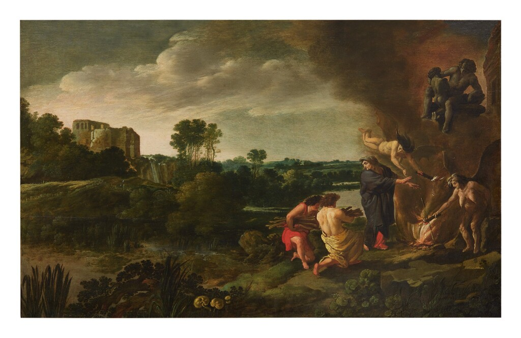 MOSES VAN WTENBROUCK     ITALIANATE RIVER LANDSCAPE, WITH CASTLE RUINS IN THE DISTANCE AND A WITCHES' SACRIFICE IN THE FOREGROUND