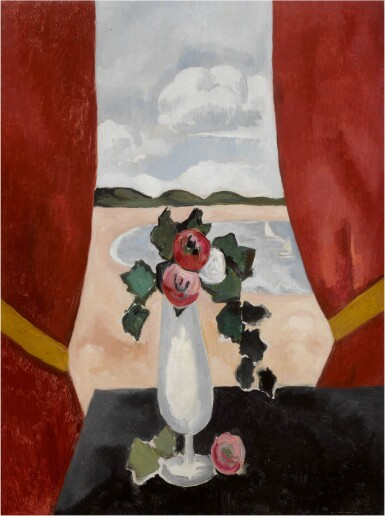 View 1. Thumbnail of Lot 44. Red Camellias in a Vase.