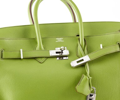 View 3. Thumbnail of Lot 10. BIRKIN 35 VERT ANIS COLOUR IN TOGO LEATHER WITH PALLADIUM HARDWARE. HERMÈS, 2011 .