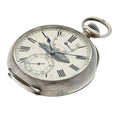 View 5. Thumbnail of Lot 397. A rare and unique large open faced watch, used on the airship Norge in the first crossing of the Polar Sea, Made in 1913.