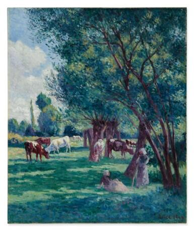 View 1. Thumbnail of Lot 1. MAXIMILIEN LUCE   BESSY-SUR-CURE, PAYSANNES GARDANT UN TROUPEAU DE VACHES.