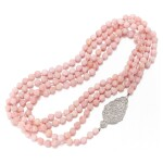 LONG PINK OPAL AND DIAMOND NECKLACE   (LUNGA COLLANA CON OPALI ROSA E DIAMANTI)