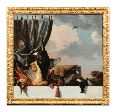 View 3. Thumbnail of Lot 32. Still life with a heron and a blue curtain; Still life with a deer and a red curtain.