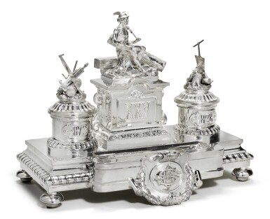 View 1. Thumbnail of Lot 214. A large and Impressive silver Imperial presentation inkwell, Grachev, St Petersburg, 1892.