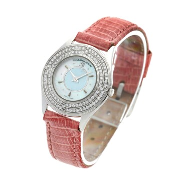 View 2. Thumbnail of Lot 156. A white gold and diamond-set wristwatch with mother-of-pearl dial, Circa 2000.