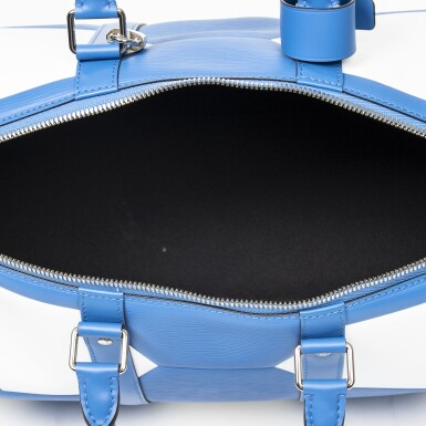 View 7. Thumbnail of Lot 110. Blue and White World Cup 50 Keepall Bandouliere in Apollo Leather with Palladium Brass Hardware, 2018.