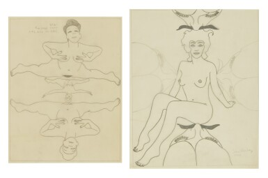 JOHN WESLEY | I. JUDY IN THE SKY II. |  UNTITLED (NUDE WITH MUSTACHES) [2 WORKS]