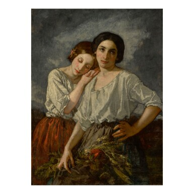"THOMAS COUTURE | TWO SISTERS (STUDY FOR ""THE PROMISES"" IN THE ENROLLMENT OF THE VOLUNTEERS OF 1792)"