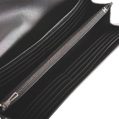 """Hermès """"So Black"""" Constance Long Wallet of Black Shiny Mississippiensis Alligator with Black PVC and Palladium Hardware"""