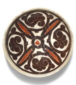 A SMALL RED AND BLACK-GLAZED POTTERY DISH, NISHAPUR OR SAMARQAND, 10TH CENTURY AD