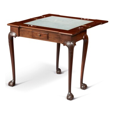 VERY FINE AND RARE CHIPPENDALE CARVED MAHOGANY GAMES TABLE, BOSTON, MASSACHUSETTS, CIRCA 1760