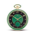 OMEGA | A YELLOW GOLD, BLACK AND GREEN ENAMEL OPENFACE WATCH, CIRCA 1920  | 奧米茄 | 黃金黑色及綠色琺瑯懷錶,機芯編號6337800,錶殼編號6919752,約1920年製