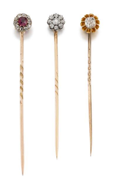 THREE STICK PINS, 19TH CENTURY