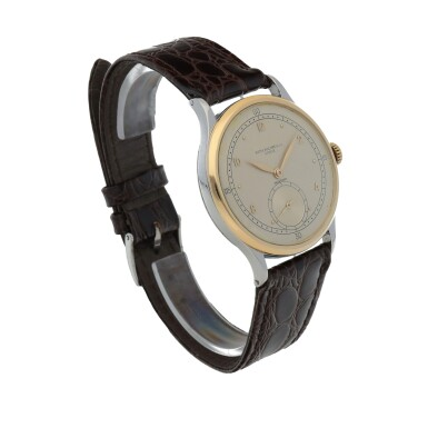 View 3. Thumbnail of Lot 52. Retailed by Hausmann: Ref. 530 Stainless steel and yellow gold wristwatch Circa 1942 | 百達翡麗|零售商為Hausmann:530型號精鋼及黃金腕錶,年份約1942.