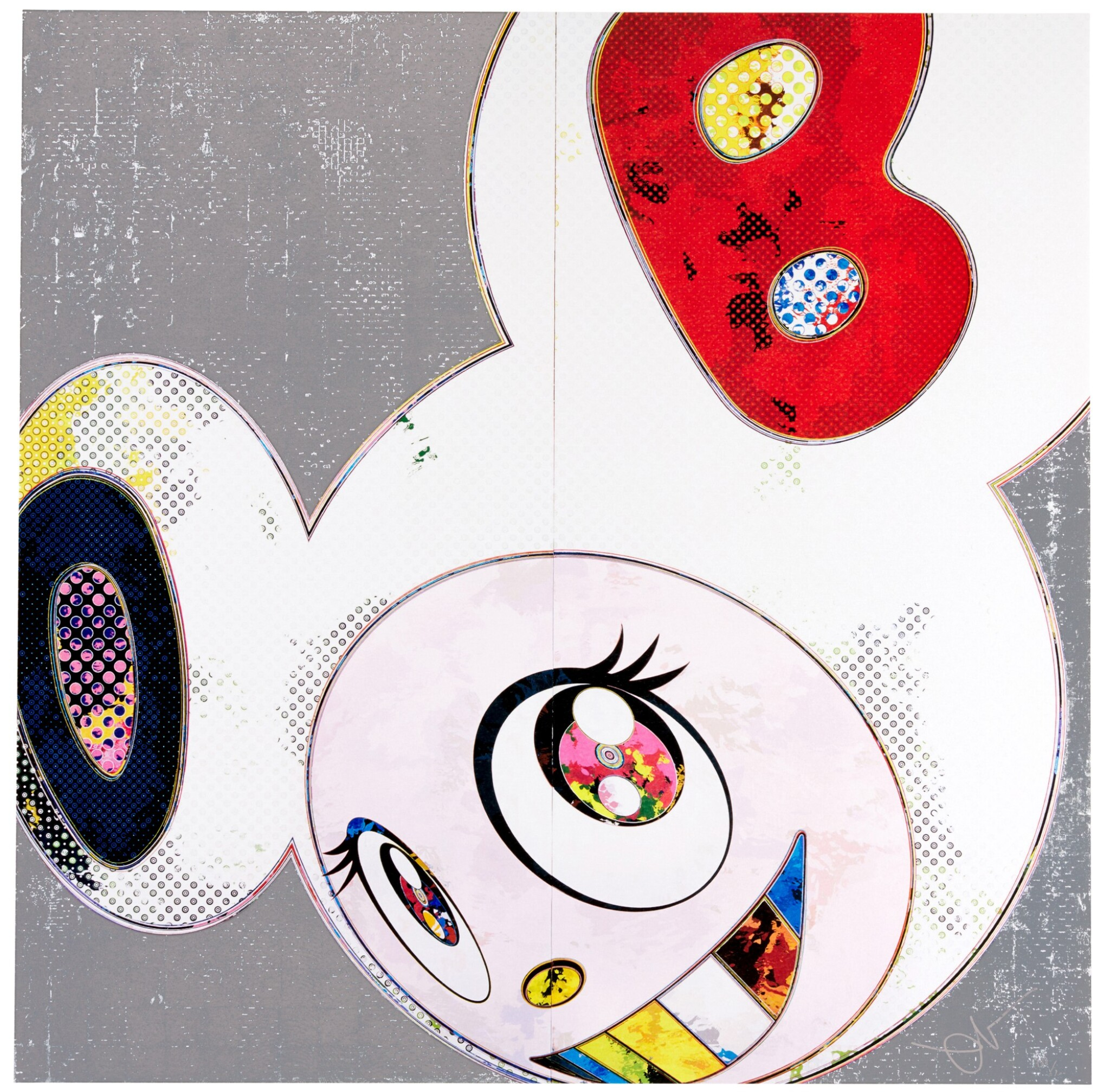 View full screen - View 1 of Lot 65. TAKASHI MURAKAMI | DOB IN PURE WHITE ROBE (NAVY & VERMILION); AND DOB IN PURE WHITE ROBE (PINK & BLUE) .