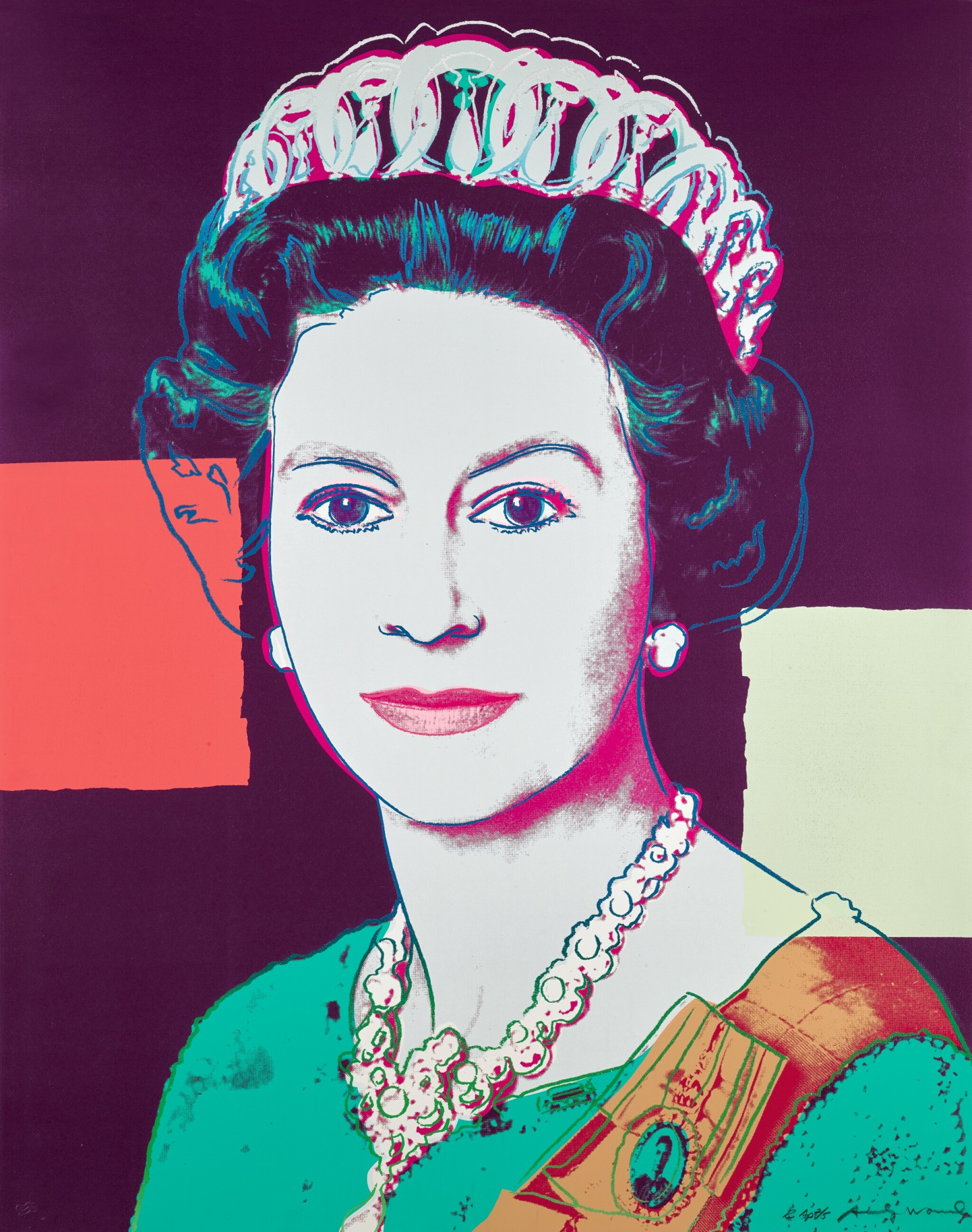 View full screen - View 1 of Lot 181. ANDY WARHOL   QUEEN ELIZABETH II OF THE UNITED KINGDOM (F. & S. II.335A).