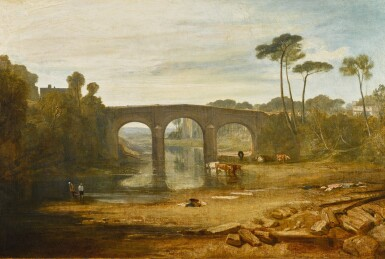 View 1. Thumbnail of Lot 50. JOSEPH MALLORD WILLIAM TURNER, R.A. |  WHALLEY BRIDGE AND ABBEY, LANCASHIRE: DYERS WASHING AND DRYING CLOTH.