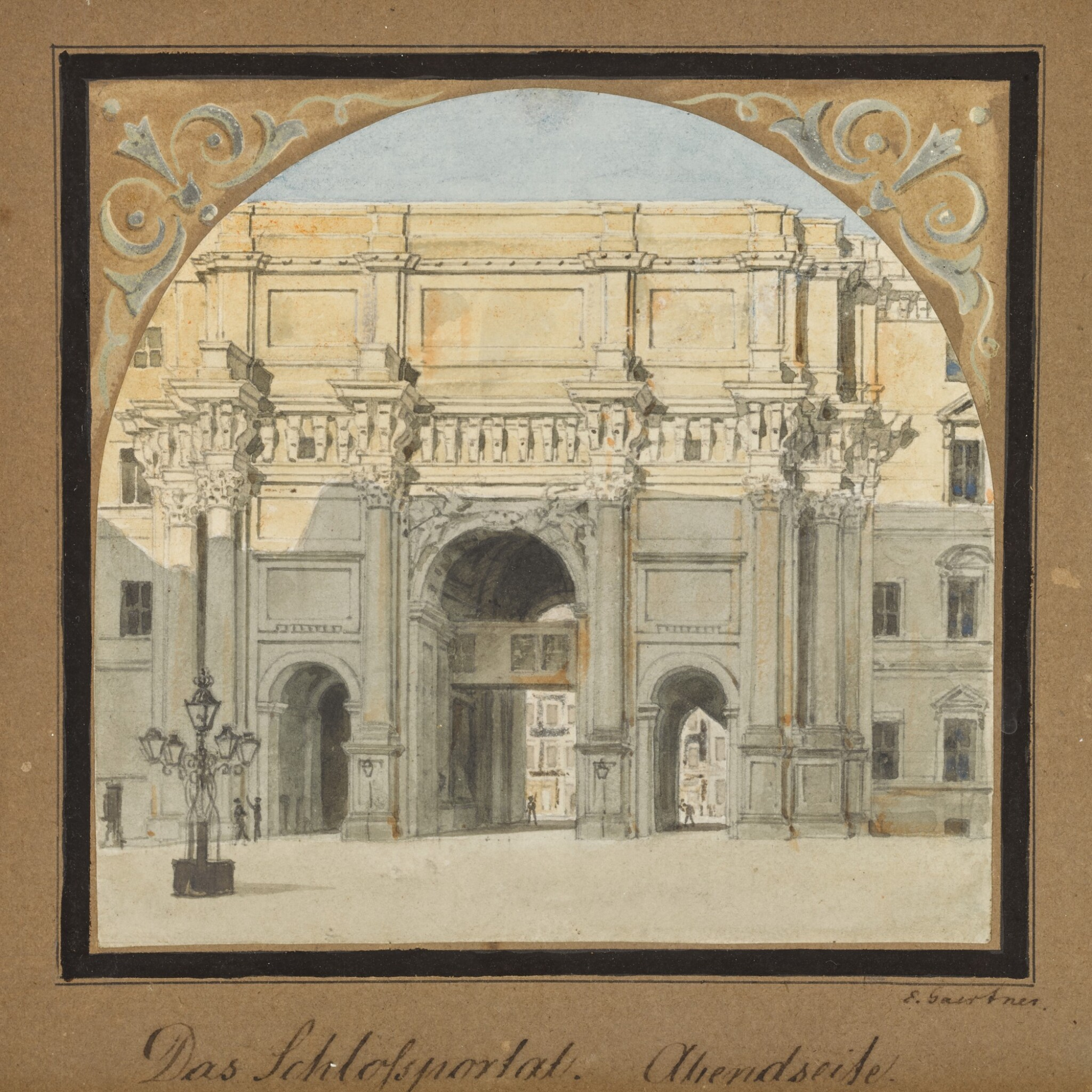 View 1 of Lot 69. Das Schloßportal, Abendseite (West elevation of the Palace Gate).