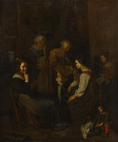 View 2. Thumbnail of Lot 69. A group of seated and standing women in an interior with a young child in the foreground.